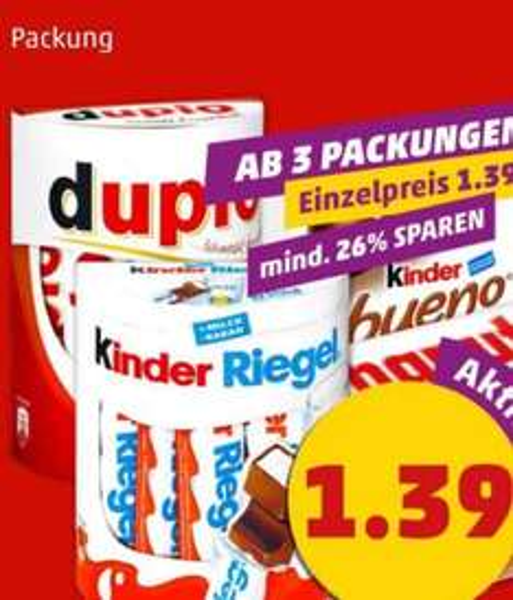 [Penny]Duplo,Hanuta,Kinder Riegel und Bueno zu je 1,39€ min Abnahme 3 Packungen