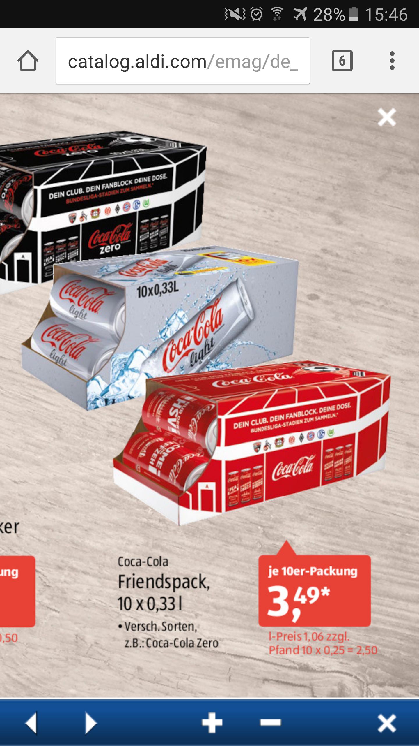 ALDI SÜD COCA COLA 3,49€ 10er Dose Pack 0.33l ab 20.10