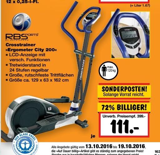 [Kaufland Ahrensfelde-Eiche und Berlin-Biesdorf] Royalbeach RBS Crosstrainer Ergo City 200 111€