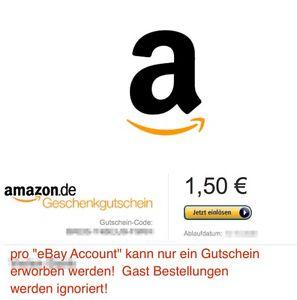 1,50 € Amazon Gutschein Code für 1€ bei Ebay