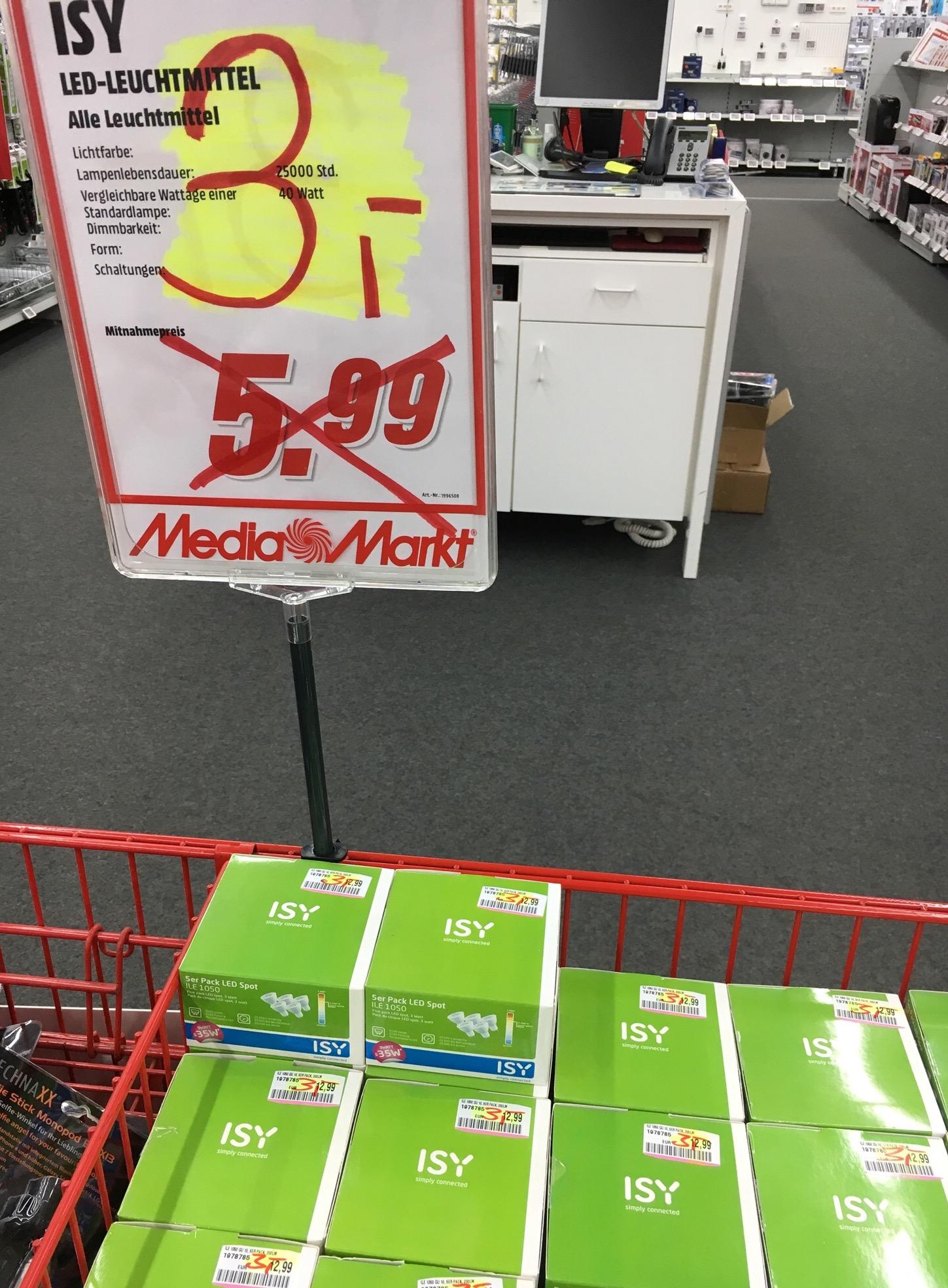 [Mediamarkt DU-Großenbaum] 5er-Pack LED Spot, GU10, 3W (vgl. 35W)