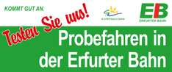 Kostenlos Bahn fahren zwischen Weimar und Gera (Probefahrt - Erfurter Bahn)