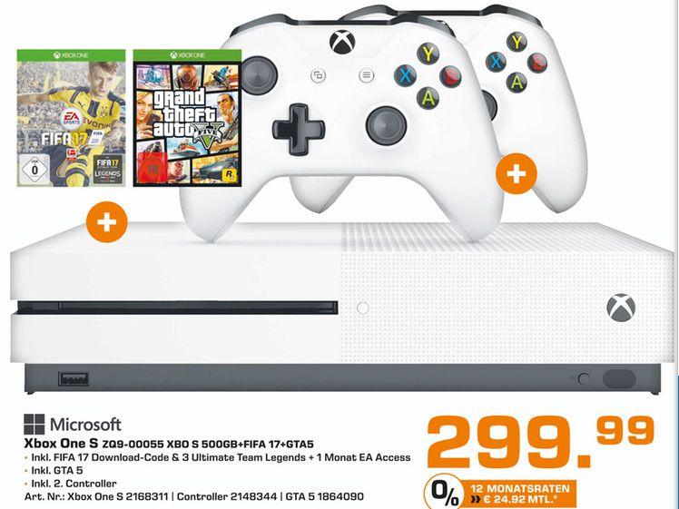 [Lokal Saturn Essen] Microsoft Xbox One S 500GB + FIFA 17 + GTA 5 + 2.Controller (Neuste Revision) für 299,99€