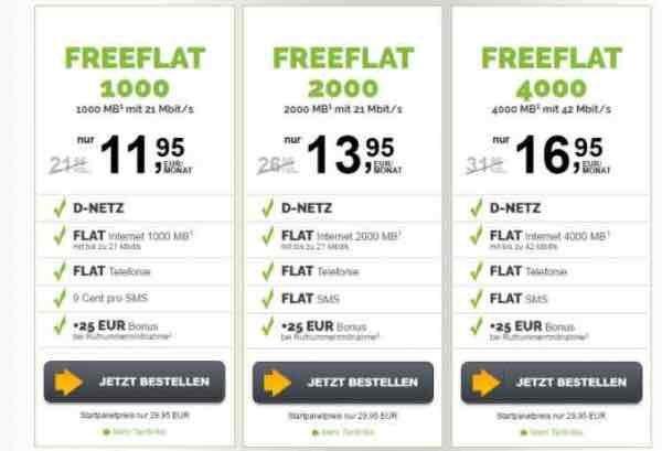Allnet Flat im D2 Netz mit 4 GB – ohne Vertragslaufzeit- nur 16,99€ mtl.