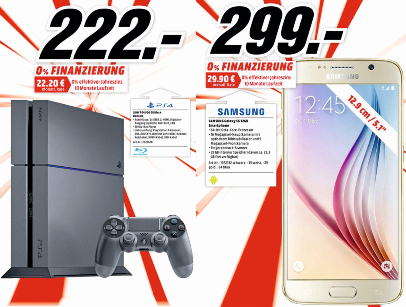 [lokal] Mediamarkt Sulzbach/MTZ: Sony PS4 500GB für 222 €, Samsung Galaxy S6 für 299 € und weitere Jubiläumsangebote