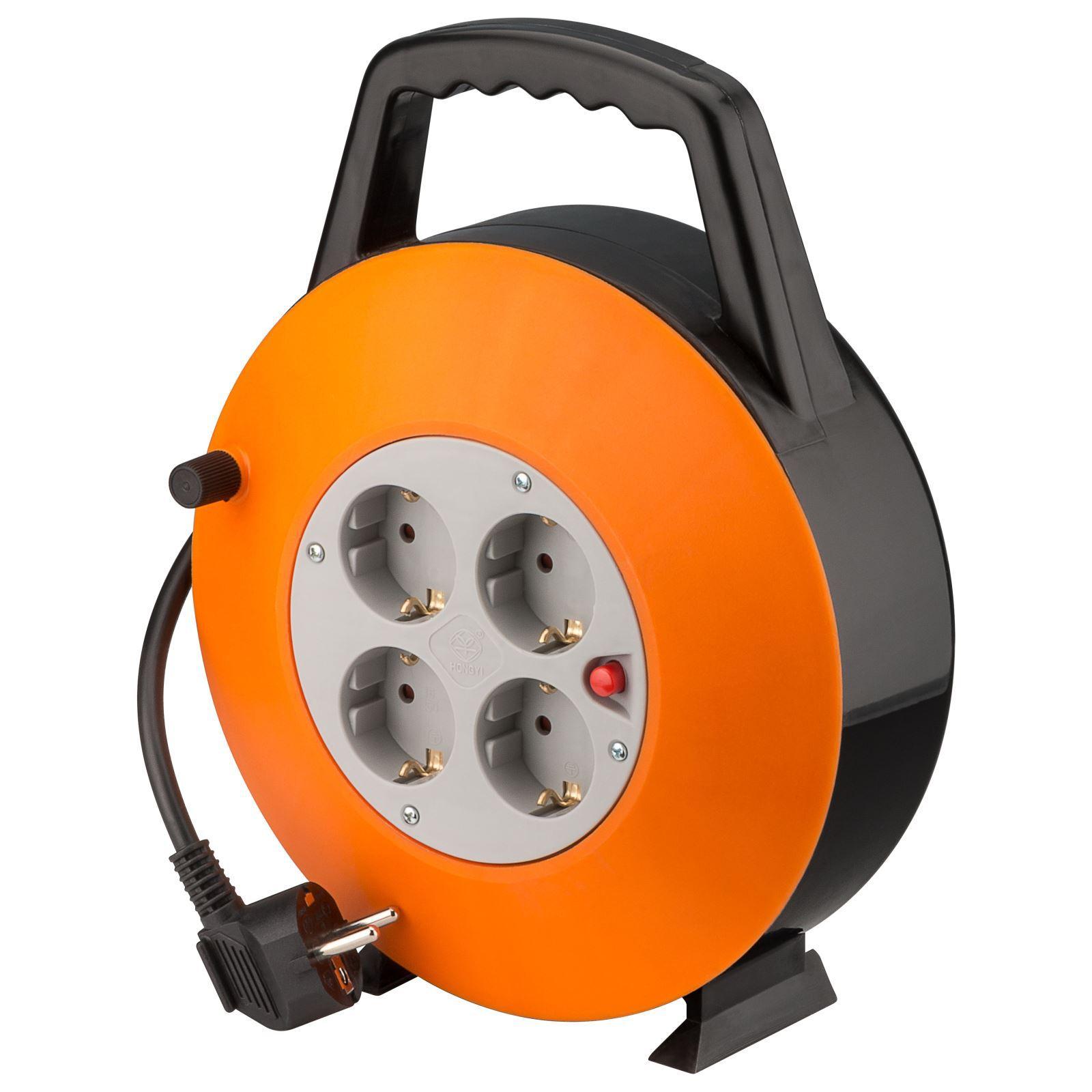 [NNB] goobay Kabeltrommel mit Kabelführung (4x Schutzkontakt-Steckdosen und Überspannungsschutz, 15m Kabel) für 11,98€