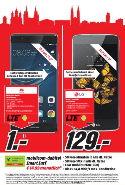 [Lokal MM Wiesbaden] Huawei P9 inkl. kleinem Mobilcom debitel Vertrag 400,75€