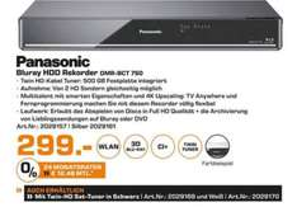 PANASONIC DMR-BCT750, BLU-RAY RECORDER, 500 GB für 299€ LOKAL Bremen