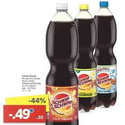 [Lidl] Schwip Schwap mit/ohne Zucker für nur 0,49€ in der 1,5l-Flasche (33 ct / Liter) ab 17.10.