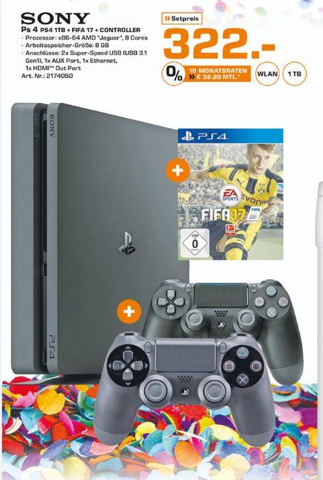 [Lokal Saturn Paderborn] Sony PlayStation 4 Slim 1TB inkl. 2. Controller + Fifa 17 für 322,-€