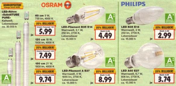 Kaufland: 25% Rabatt auf alle LED-Leuchtmittel