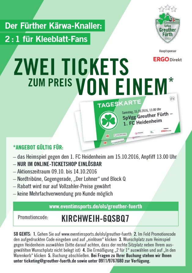 [lokal FÜRTH] 2 Tickets für Spvgg Fürth - FC Heidenheim 15.10.2016 13:00 Uhr für 13,00€ (2 für 1 Angebot)