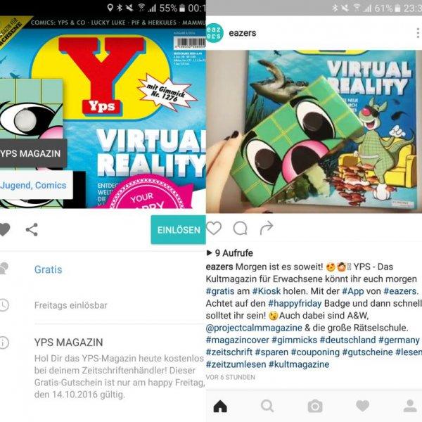 Heute GRATIS (14.10.16) YPS Magazin mit VR Cardboard als Gimmick kostenlos am Kiosk über eazers-App (iOS & Android)