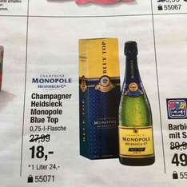 MONOPOLE Heidsieck Champagner Blue Top - nur am 17.10.16 bei Galeria Regensburg