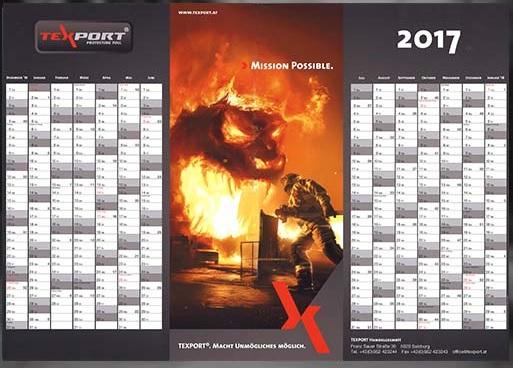 Wandkalender 2017 von TEXPORT  - Größe DIN A1