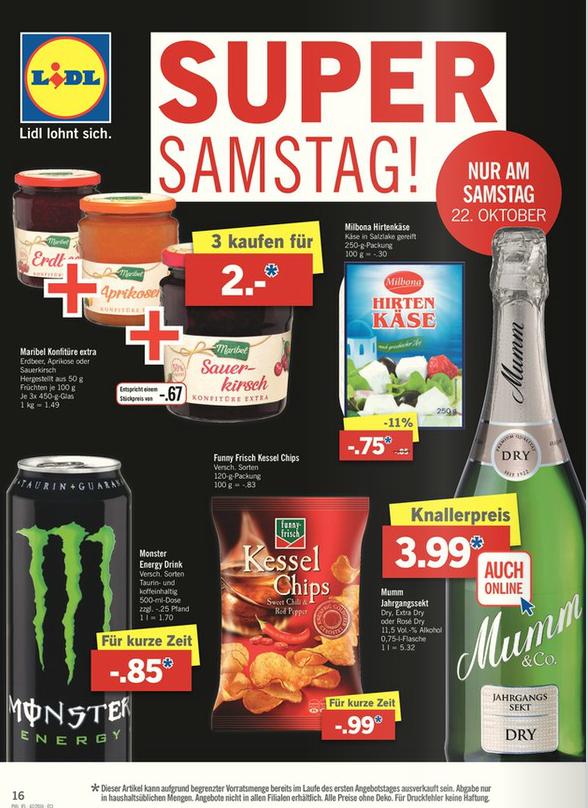 [Lidl] Super Samstag ! Monster Energy Drink vers. Sorten 500ml Dose 0,85€ & Funny Frisch Kesselchips 120g Tüte 0,99€