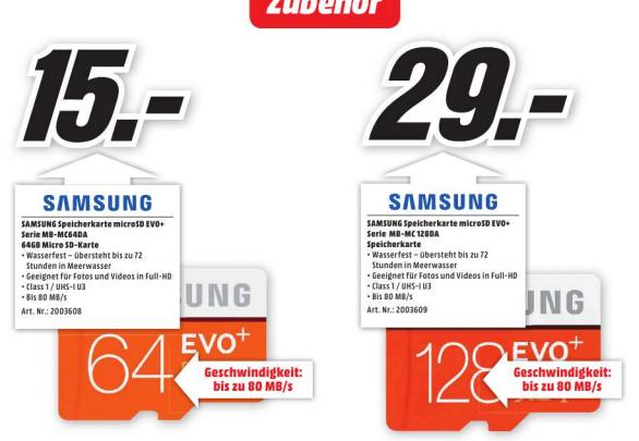 [lokal Rhein Neckar] Media Markt | SAMSUNG EVO+ 128 GB | 29 EUR
