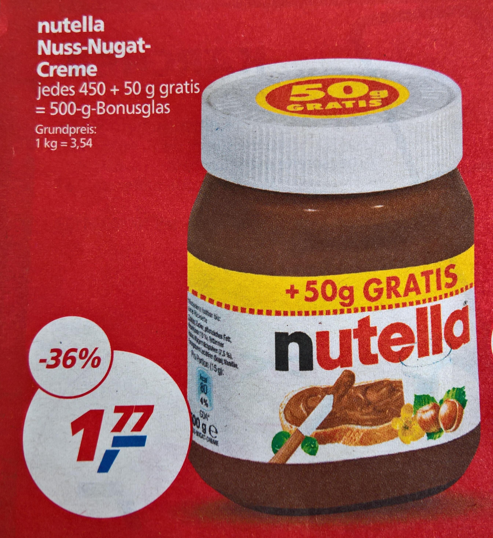 KW 42 bei real: Nutella 450 + 50 g = 500 g Glas für 1,77 € (3,54 € kg-Preis)