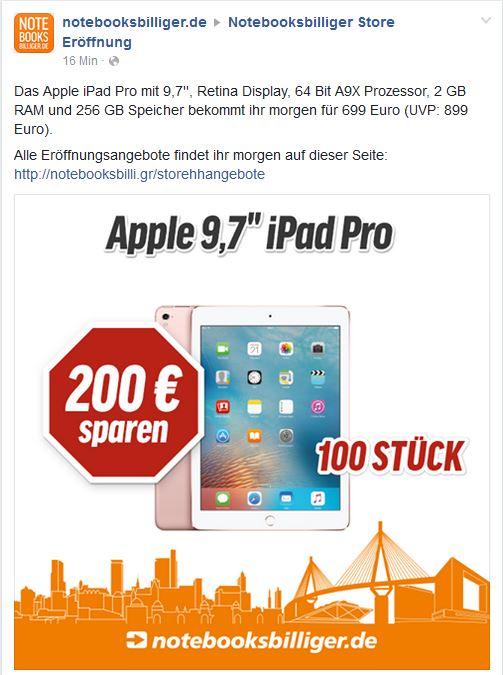 Notebooksbilliger Store Hamburg IPad Pro 9,7 256 GB Wifi