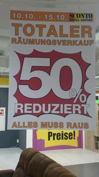 Sconto Stralsund Räumungsverkauf  50% reduziert ab Montag 75%