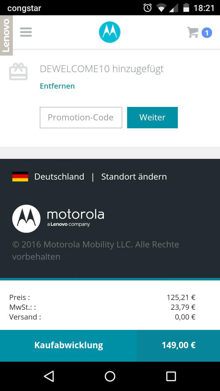Moto G 4 Play schwarz/weiss 149,- bei Motorola.de