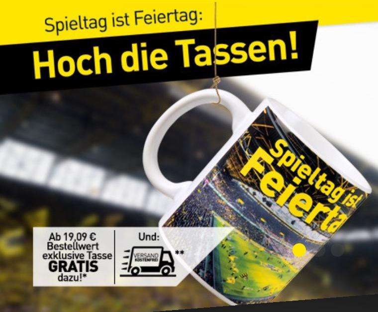 """[BVB Shop] SALE in Kombination mit gratis """"Spieltag ist Feiertag"""" Tasse und gratis Versand ab 19,09€ Einkauf"""