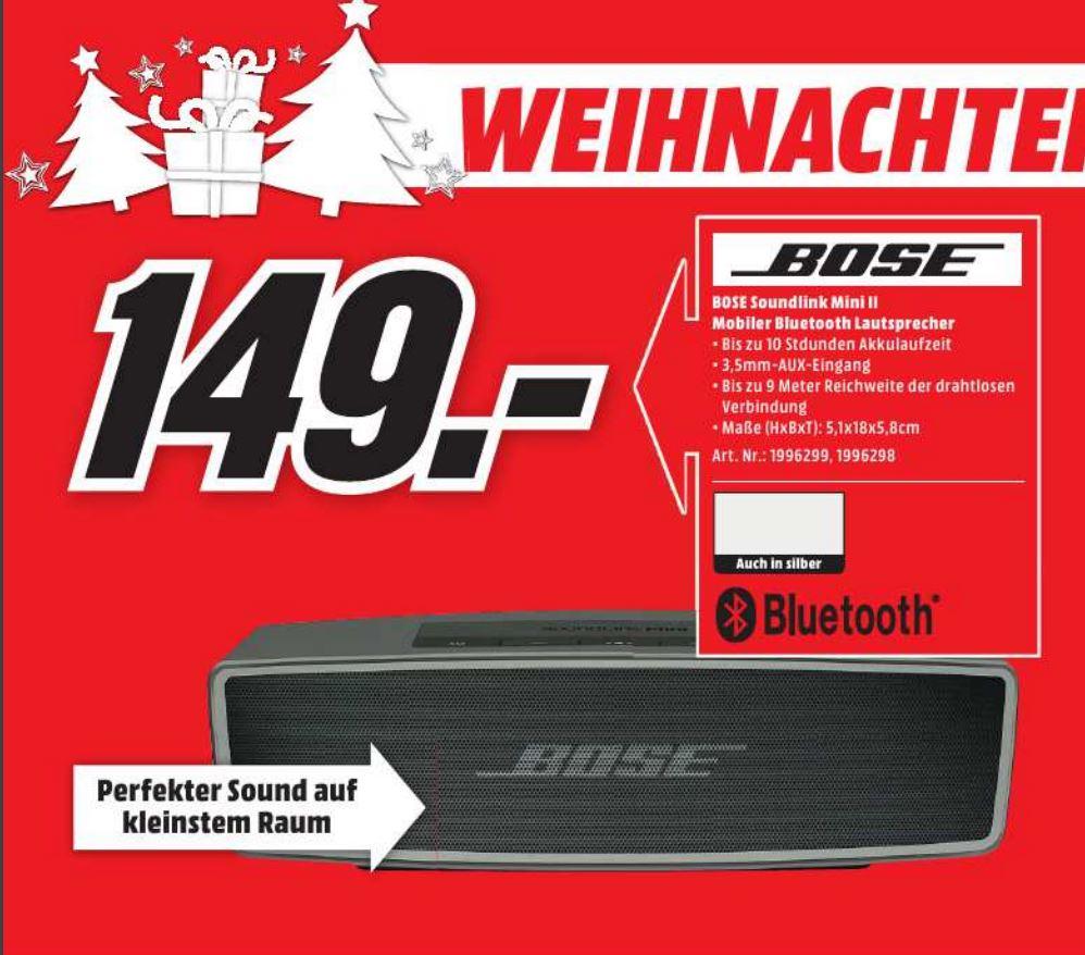 [Lokal Media Markt Lippstadt] Bose Soundlink Mini II Bluetooth Lautsprecher für nur 149,00 Euro