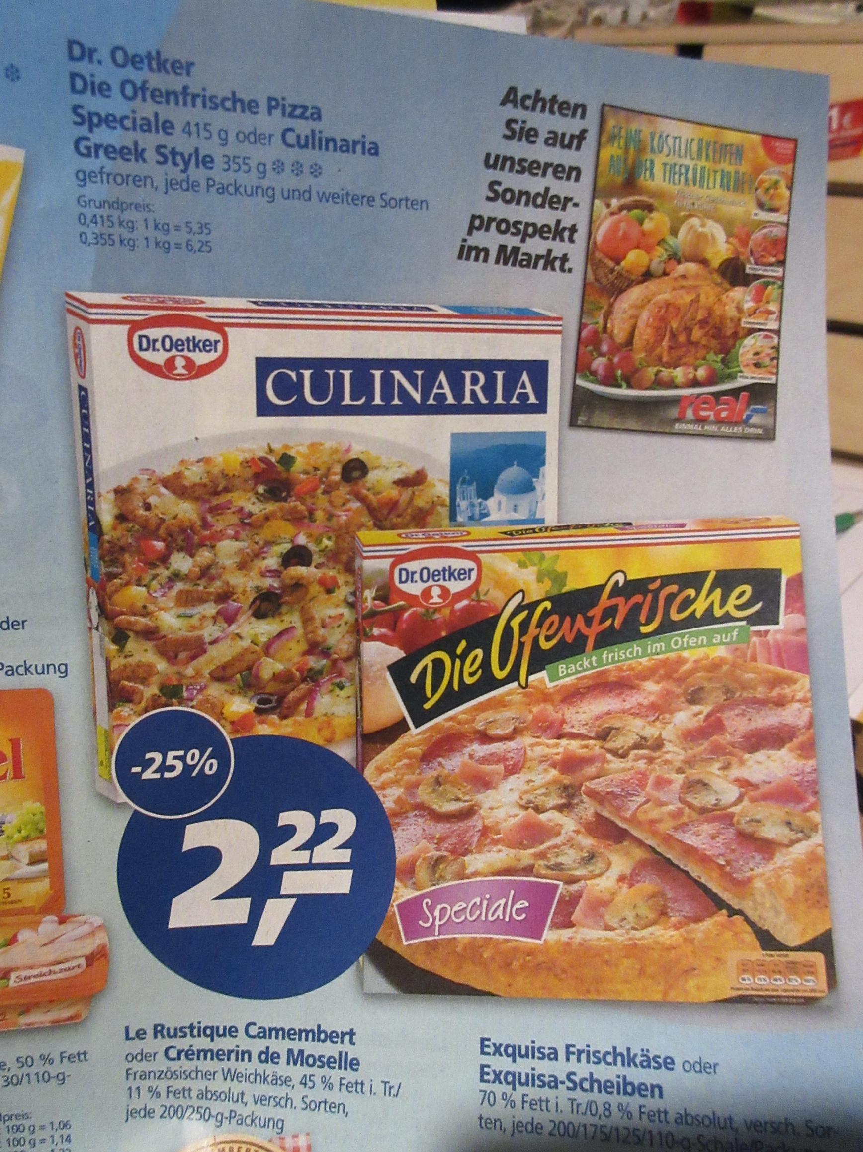 REAL - Dr. Oetker . Die Ofenfrische Pizza mit Gutschein für 1,82 Euro