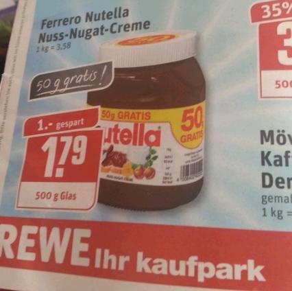 Nutella 500g für 1,79 Euro REWE DORTMUND