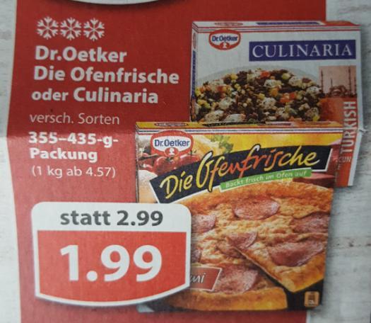 """Famila Nordwest ab Montag: Dr. Oetker """"Die Ofenfrische"""" oder """"Culinaria"""" für 1,99€ / mit Coupon (betrifft nur """"Die Ofenfrische"""") für 1,59€."""