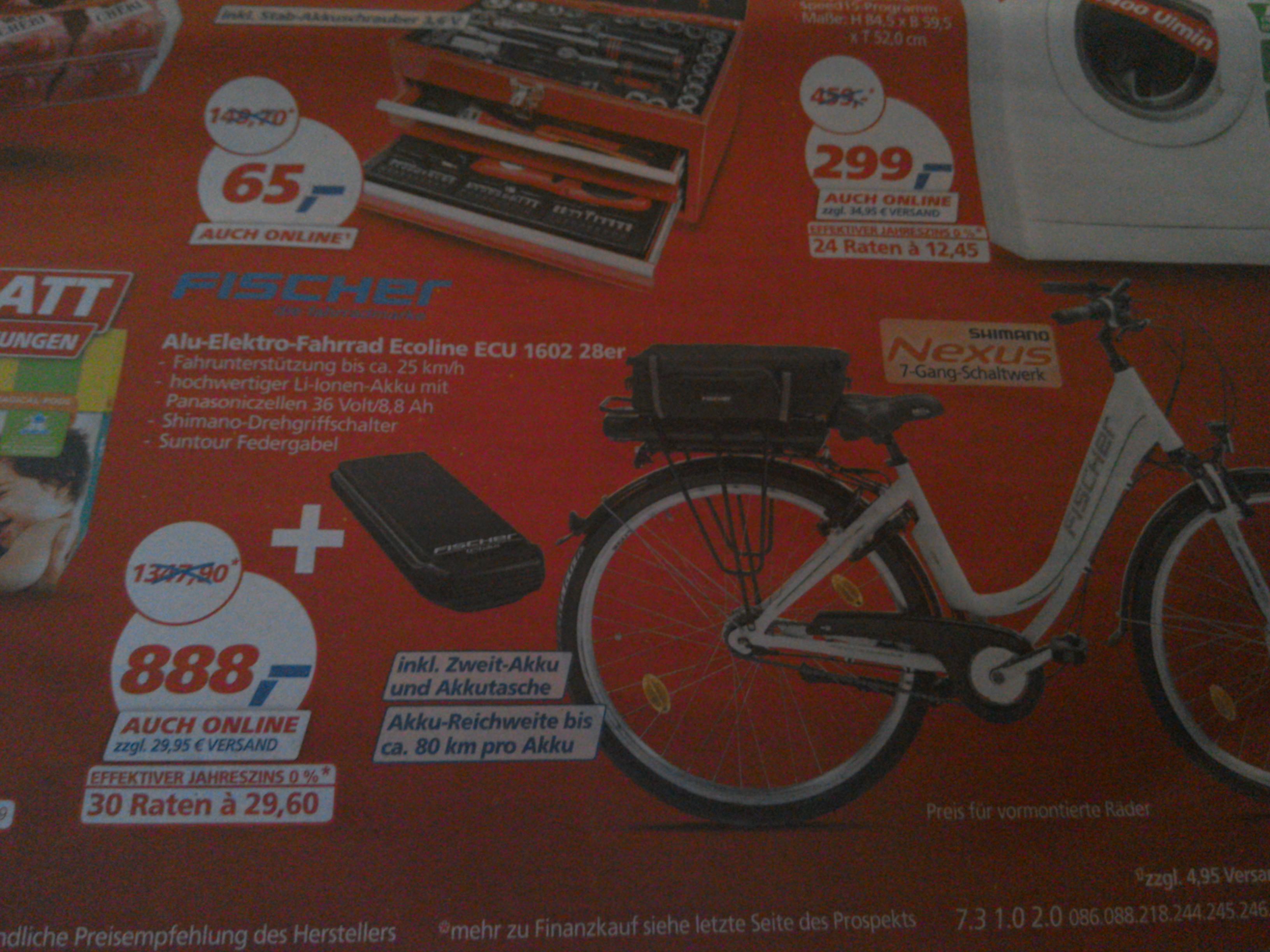 Fischer Fahrrad Ecoline 1602 mit zweitem 8,8 Ah Akku für 888€ bei Real