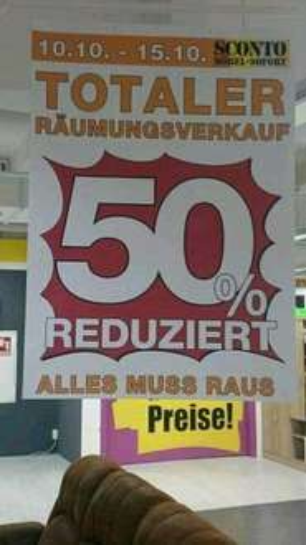 Sconto Stralsund Räumungsverkauf  75% reduziert ab Montag (Möbel)