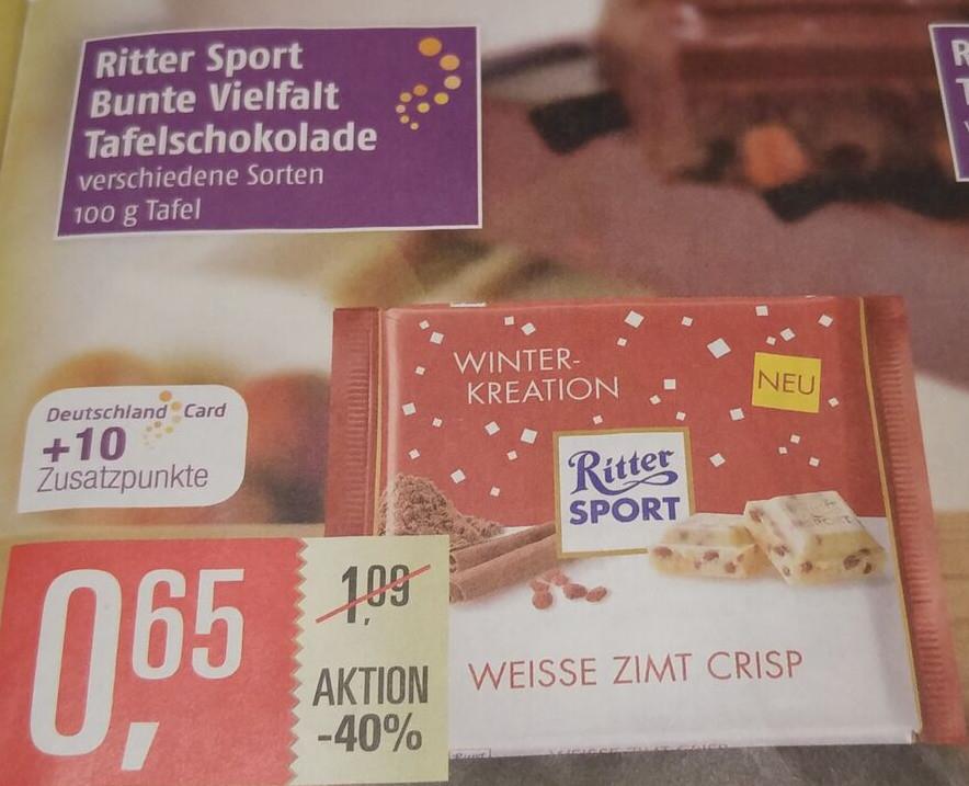 [Marktkauf Nord] Ritter Sport für effektiv 0,55 € (0,65 € plus 10 DeutschlandCard-Punkte)