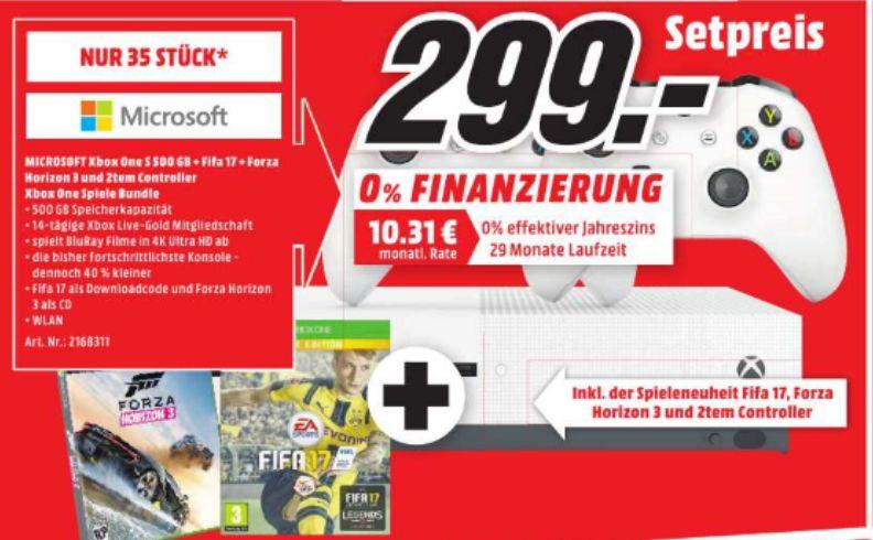 [Lokal Mediamarkt Kaiserslautern] Nur heute 16.10**Nur 35 Stück** Microsoft Xbox One S 500GB + FIFA 17 + Forza Horizon 3 + 2.Controller (Neuste Revision) für 299,-€