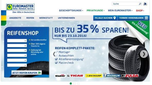 Euromaster: Bis 23.10. ca. 35% auf Winter- und Ganzjahresreifen sparen, inkl. Montage, Wuchten, Altreifenentsorgung