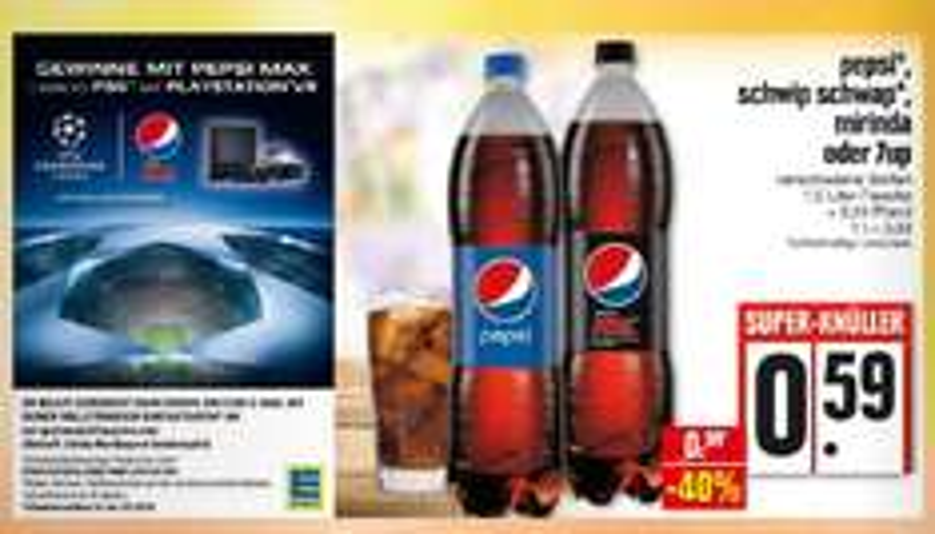 [Edeka (Nordbayern/Thüringen/Sachsen)] Pepsi, Schwip Schwap, Mirinda oder 7up für 0,59€ 1.5l abzgl. 30% Scondoo (pro Liter 0,275€)