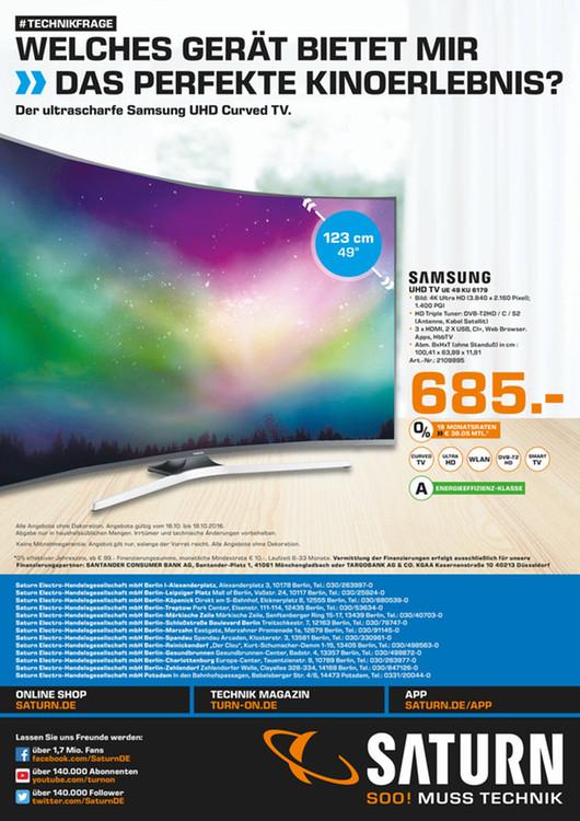 [Saturn Berlin / Brandenburg] Samsung 4K UHD TV UE49KU6179