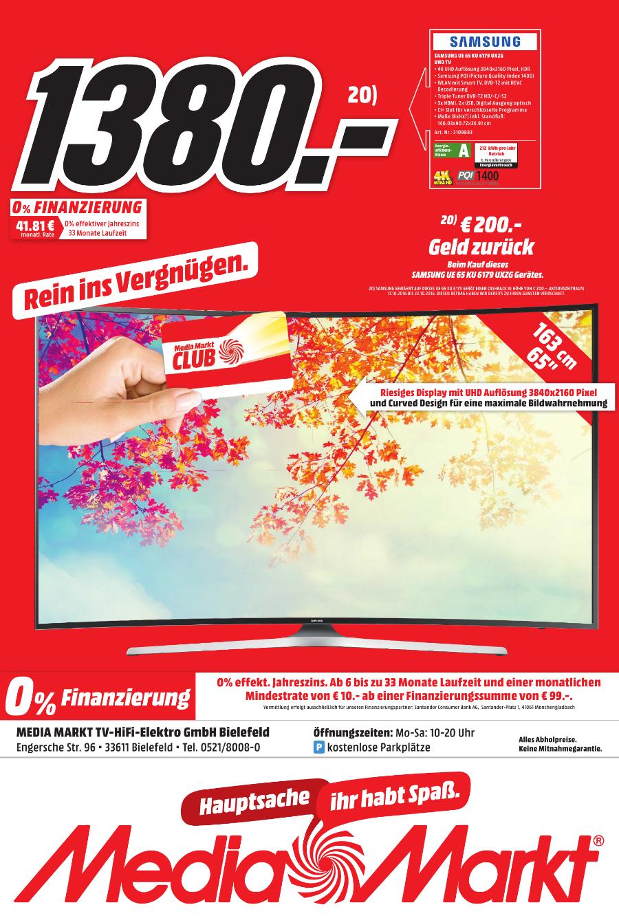 [Lokal] Samsung UE 65 KU 6179 UXZG (Media Markt Bielefeld) -16%