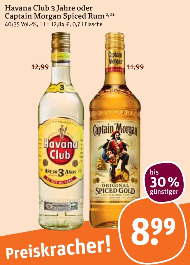 Havanna Club 3 Jahre oder Captain Morgan Spiced Rum für 8,99€ @tegut