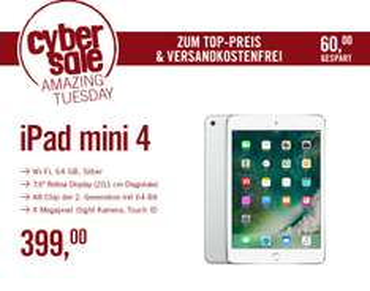 [cyberport] iPad Mini 4 64 GB WLAN, silber MK9H2FD/A, 399 Euro (inkl. Versand)