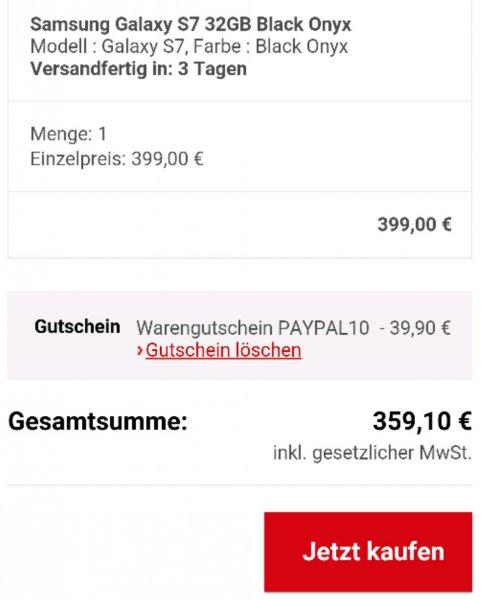 Samsung Galaxy S7 NEU für 359.10€ NEU bei allyouneed