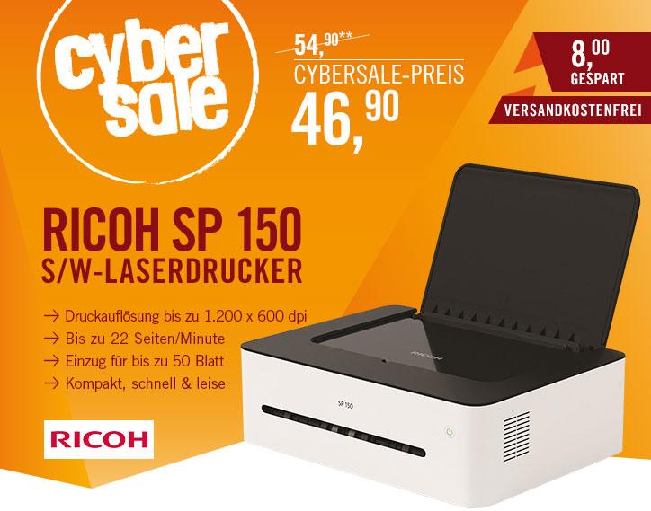 Ricoh SP 150 für 46,90€ - 10€Cashback - kleiner, kompakter, schlichter A4 Laserdrucker