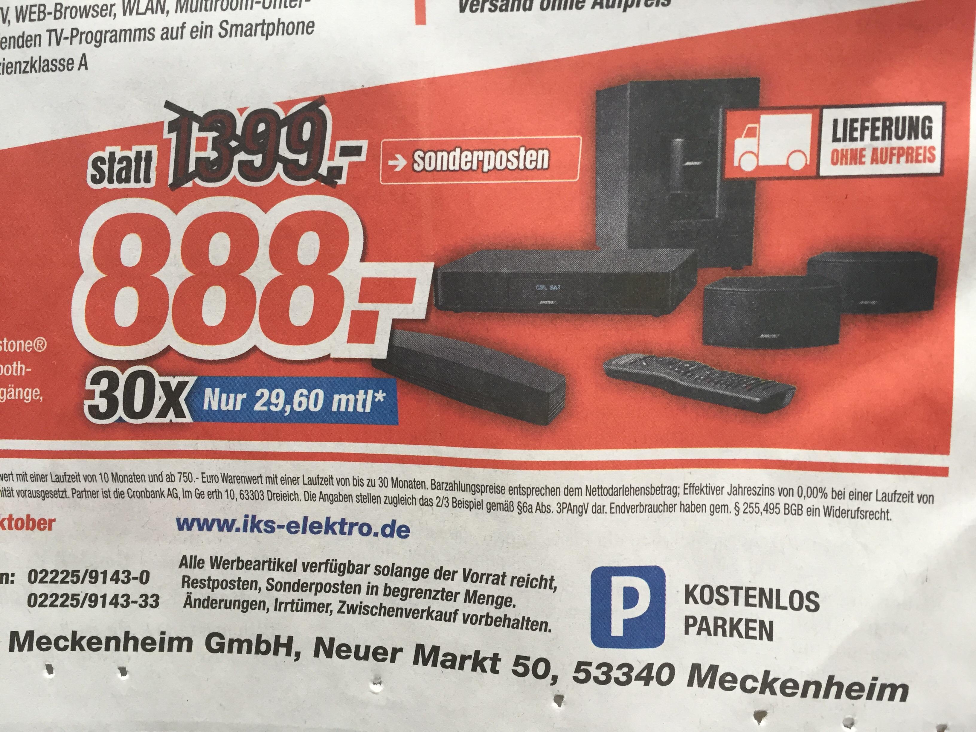 Lokal/Nähe Bonn - Nur 888,- € (idealo 1.149,-) Bose 2.1 Heimkinosystem Soundtouch 220