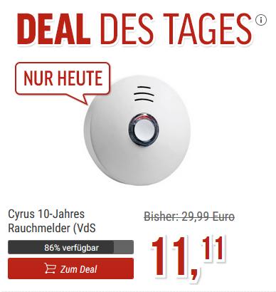 Cyrus 10-Jahres Rauchmelder Deal bei notebooksbilliger.de - nur heute!