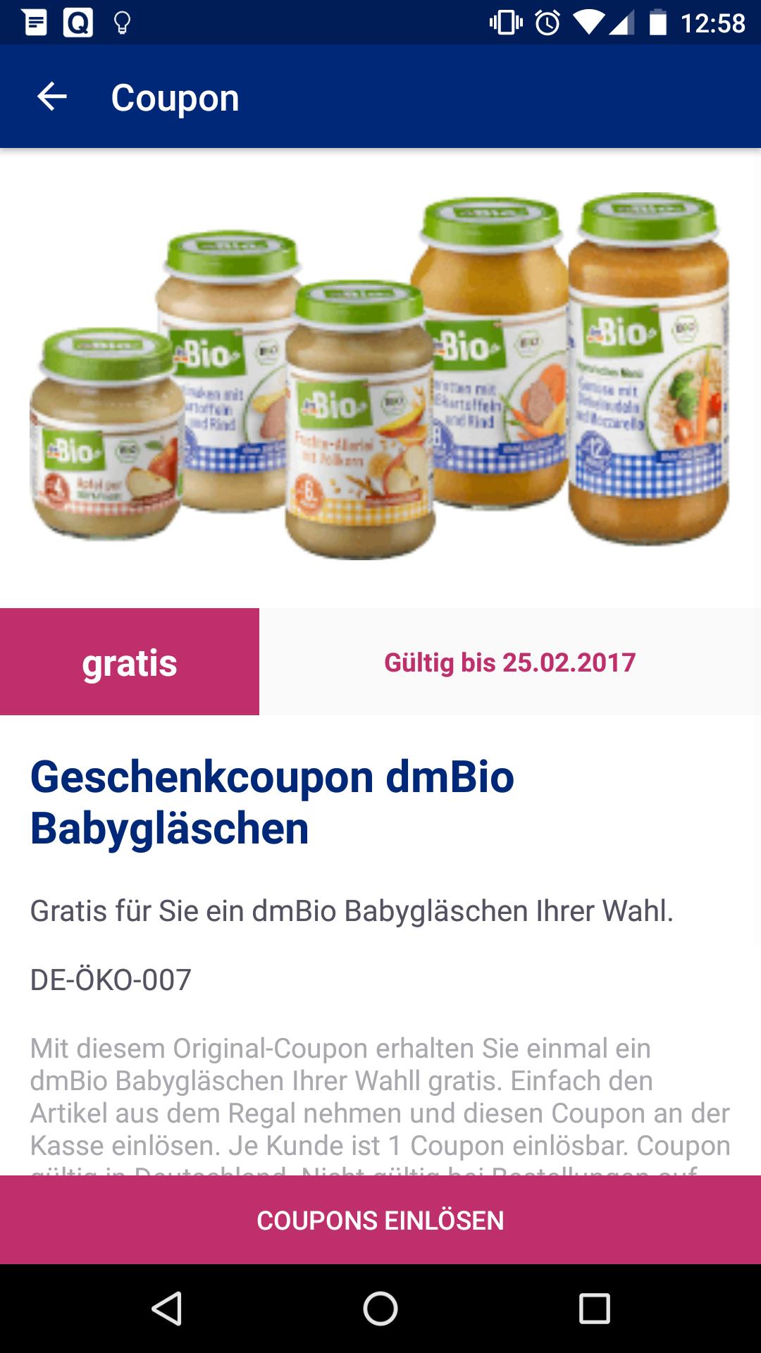 Gratis dm Bio Babygläschen [DM-App]
