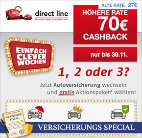 KFZ-Versicherungswechsel: 70€ Cashback für Versicherungswechsel zur Direct Line via Shoop