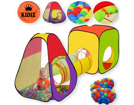 KIDIZ® Spielzelt +Tunnel + 200 Bälle + Tasche, Kinderzelt, Bällebad, Spielhaus, Versch. Modelle