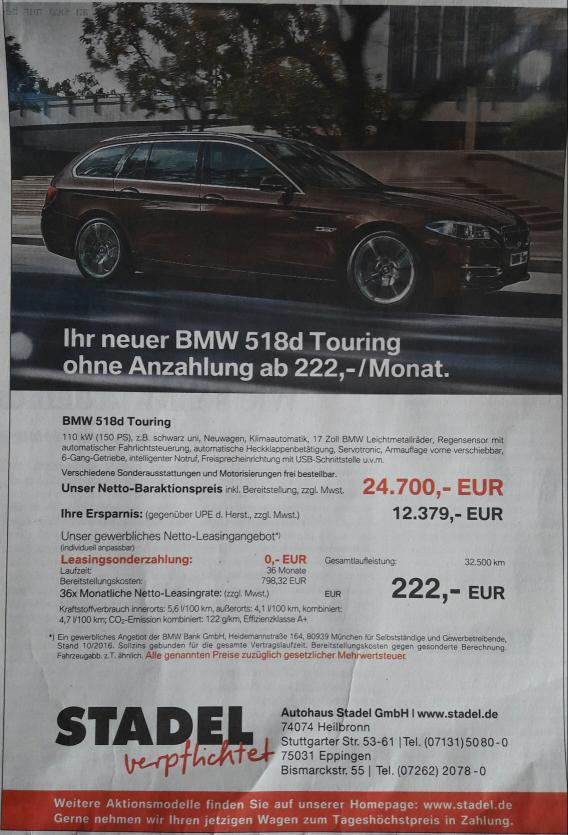 [Lokal Heilbronn Gewerbekunden] BMW 518d Touring für 24.700€