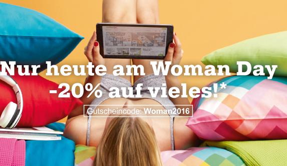 Woman Day-Angebote bei Mömax mit 20% Rabatt auf viele Artikel (auch Sale und auch für Jungs)