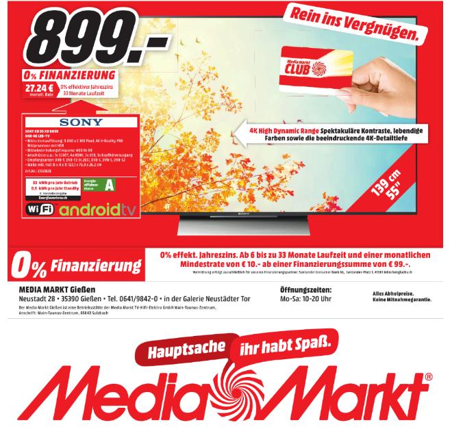 [Lokal Media Markt Gießen] - SONY KD55XD8005 LED TV (Flat, 55 Zoll, UHD 4K, Android TV) für 899€ !!